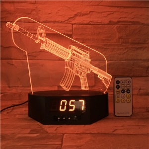 SZ385 Gun Pattern 3D LED Night Table Lamp Light Illusion Lamp Color Changing Desk Light with Clock