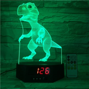 SZ387 Dinosaur Pattern 3D LED Night Lamp Light Illusion Lamp Color Changing Desk Light with Clock