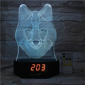 SZ392 Wolf Pattern 3D LED Night Desk Lamp Light Illusion Lamp Color Changing with Clock
