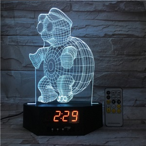 SZ512 Sea Turtle Clock 3D Visual LED Night Light Remote Control Table Lamp 7 Colors Changing