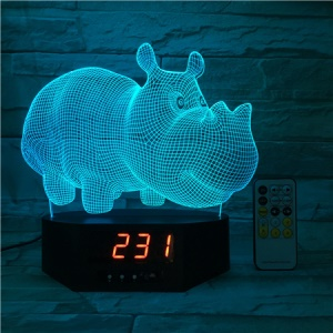 SZ596 Rhinoceros Clock 3D Illusion Visual LED Night Light Remote Control Table Lamp 7 Colors Changing