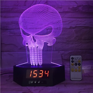 SZ319 Halloween Skull 3D Visual Touch Control LED Night Light & Clock 7 Colors Changing