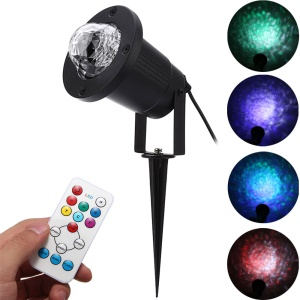YouOKLight YK2280 12W RGBW Remote Control Colorful Flame Marine Landscape LED Projection Lamp for Courtyard Christmas - EU Plug