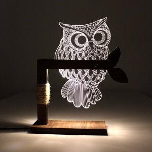 Wow Home 3D Owl Shape LED Desk Table Lamp Night Light - US Plug