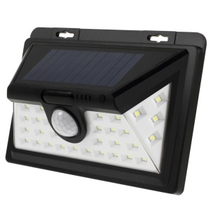 34 LED Wide Angle Solar PIR Motion Sensor Light with 3 Lighting Modes for Wall, Driveway, Garden - Black