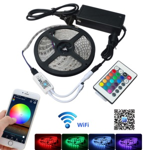 5M 300x5050 SMD impermeável IP65 Smart Home Wi-Fi RGB LED Strip Light Kit - Plug da UE