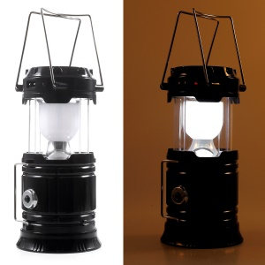 JH-5800T Portable Outdoor Solar Torch Light Stretchable LED Camping Lantern with Power Bank Function - US Plug