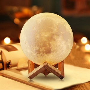 15cm 3D Printing Moon Lamp Touch Control 3 Light Colors Home Decorative Light - White