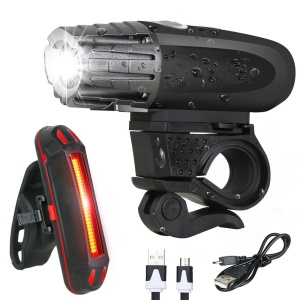 YOUOKLIGHT YK1528 Waterproof Bike Light Set LED Super Bright Bicycle Headlight + Tail Light USB Rechargeable