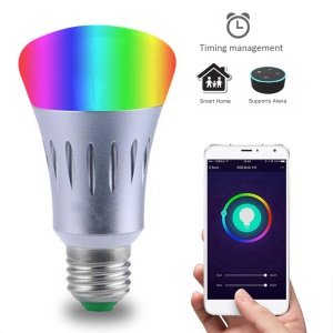 AC 85 - 265V E27 RGBW Dimmable Smart WiFi  LED Bulb Wireless APP Remote Control Color Changing Light Bulb