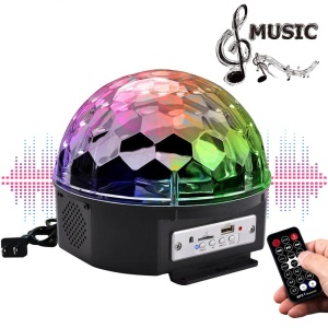 YouOKLight 9-Color LED Music Crystal Magic Ball Light MP3 USB Bluetooth Disco DJ Stage Remote Control Light - US Plug