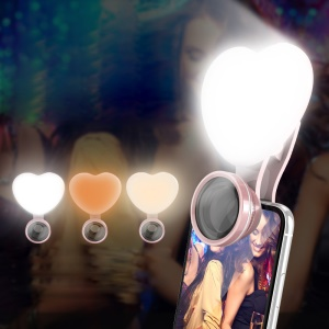 WQ19 Heart Shape 3-in-1 Selfie Fill LED Light + Wide Angle / Micro Phone Camera Lens - Rose Gold