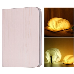 USB Rechargeable LED Foldable Wood Grain Book Shape Desk Table Lamp Night Light - Pink