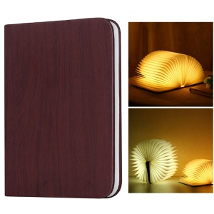 Wood Grain Book Shape Table Lamp USB Rechargeable Wooden Foldable Book Light - Brown