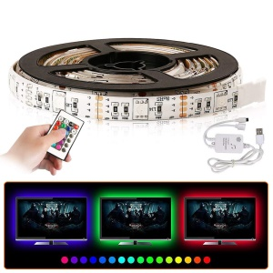 YOUOKLIGHT Cuttable 2m 60 LEDs Flexible USB Remote Control RGB Colorful 16.4ft LED Music Strip Light