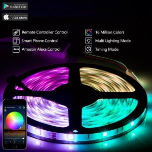 YOUOKLIGHT YK0442-US 5m Waterproof RGB LED Strip Lights with 4 Dynamic Lighting Modes  - EU Plug