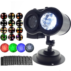 YOUOKLIGHT YK2321 LED Ocean Wave Lamps Laser Spots Projector Lamp with 12 Cards - US Plug