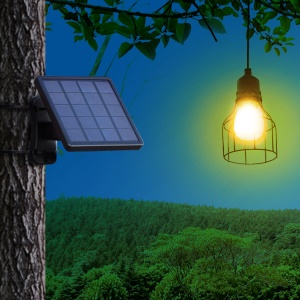 DS-9426 Waterproof Solar Powered Smart Discharge Hanging Light Pendant Lamp with Octagonal Iron Lampshade