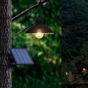 DS-9428 Solar Powered Smart Discharge Hanging Pendant Light with Stainless Steel Arc Lampshade
