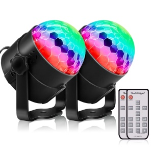 2PCS/Set YOUOKLIGHT Sound Disco Lights Party Lighting Disco Ball Speaker Strobe Rotating Lamp with Remote Control - EU Plug