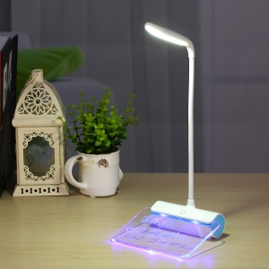Dimmable Touch LED Desk Lamp with Message Board and Fluorescent Pen - Blue