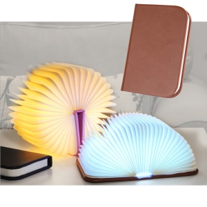 Mini Colorful Foldable LED Book Lamp PU Leather Cover USB Rechargeable Night Light - Brown
