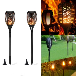 2Pcs/Pack YOUOKLIGHT Torch Light Flame LED Solar Light Auto On/Off for Patio Yard Garden - Black