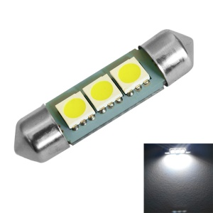 1W Festoon 36mm White Light LED Bulb Car Lamp 3-SMD 5050 70-90LM (1PC)