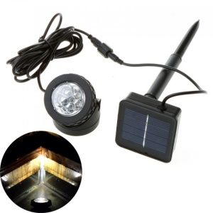 IP68 Waterproof Solar Energy Powered LED Spotlight for Outdoor Garden Pool Pond - White