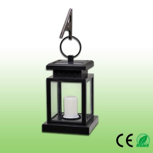 Outdoor Solar Powered Lantern Hanging Light LED Pillar Candle Landscape Yard Patio Garden Lamp