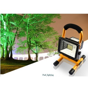 10W 24-LED Outdoor Floodlight Camping Light Built-in Rechargeable Lithium Battery with USB Port