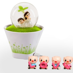 Romantic Grass Pot USB Charge Rechargeable Vibration Sensor LED Night Light - Sweet Lovers