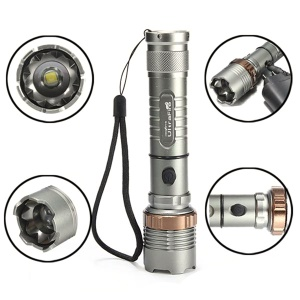 XM-L T6 Aluminum Alloy Zooming 3500mAh LED Flashlight Torch + Car & Wall Charger Kit - EU Plug