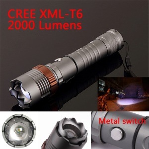 Adjustable Focus CREE XM-L T6 2000 Lumens LED Light Flashlight Torch Lantern - Grey