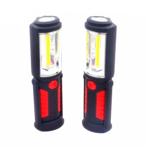 2Pcs COB LED Magnetic Stand Hook Car Inspection Work Lights Outdoor Flashlights