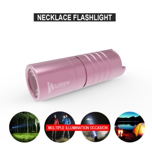 WUBEN G341 Necklace Design Mini Flashlight Waterproof USB LED Torch - Rose Gold