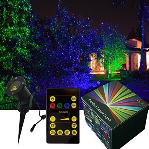 Garden Tree and Outdoor Wall Decoration Green and Red Light Laser Lights for Decorative Light  X-23P-B - EU Plug