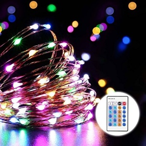 Dimmable 7-color LED Copper Wire Lights 200-LED 20m with Remote Controller - EU Plug