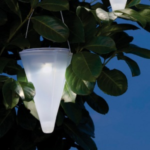 SUNOTING 2Pcs Solar Powered Cone Tree Hanging Light Lawn Table Lamp (White + Warm White)