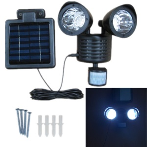 Dual Head 22 LED Solar Powered Motion Sensor PIR Security Light A56 - Black