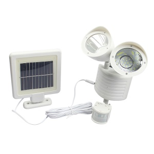 Solar Powered Double Head 22 LED Motion Sensor PIR Security Light A56 - White