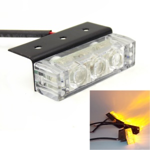 12V Yellow 4 x 3-LED Strobe Light Flash Warning Car Truck Lamp with Modes Controller