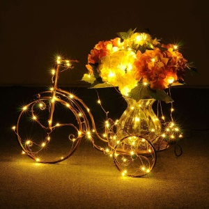 13.5M 120-LED Solar Powered Copper Wire String Lights Waterproof 8 Functions for Outdoor Garden Christmas Parties - Warm White