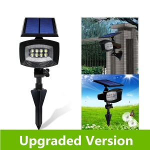 8-LED 400 Lumen Solar Spotlight Outdoor Landscape Light IP44 Waterproof Wall-mount/In-ground