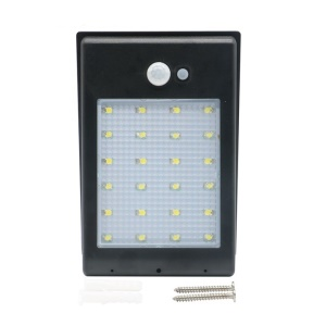400LM 24-LED Solar Power PIR Motion Sensor Light Garden Wall Lamp - Black