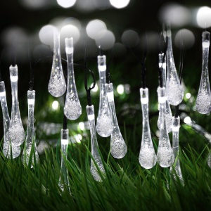 Solar Powered 4.8M 30 LEDs Outdoor String Lights for Christmas Party - Waterdrop / White