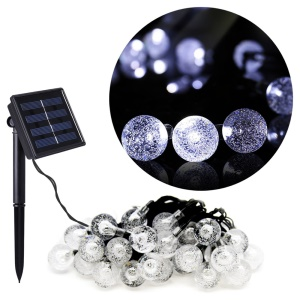 Solar Power 4.8M 30-LED Outdoor Decorative String Lights for Christmas Party - Bubble Ball / White