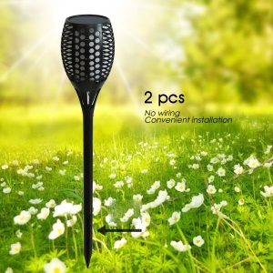 2Pcs / Set YY-9605 Puissance solaire 96-LED Garden Light Torch Design Outdoor Waterproof Light
