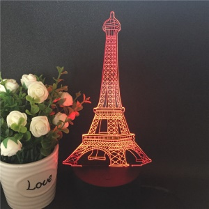 Creative 3D Eiffel Tower Illusion LED Night Light Acrylic Discoloration Colorful Atmosphere USB Table Lamp