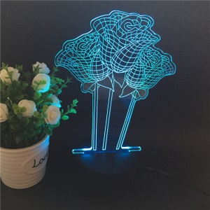 3D Creative 7-color Acrylic Rose Flower LED Night Light Touch Color Changing Atmosphere Lamp